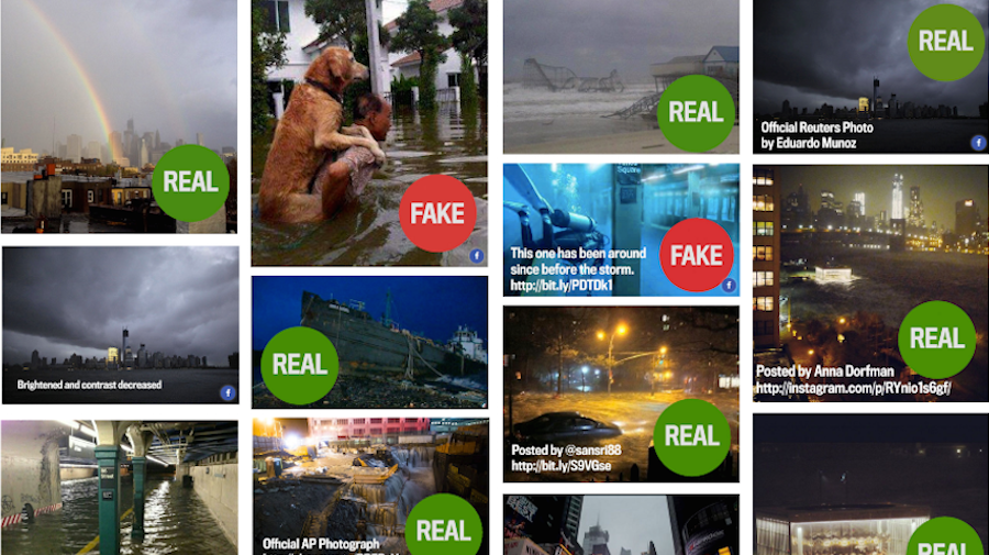 Composite of images from Sorting the real Sandy photos from the fakes by Alexis Madrigal/TheAtlantic