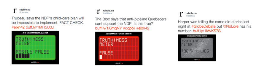 """Rabble.ca's political scale—The broken screen is a good joke. But why does it look like a pager from the 1990s? Why is the """"mostly false"""" rating green?"""
