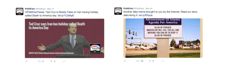 """Left: The debunk label """"MOSTLY FALSE"""" is too small and seems contradicted by """"Politifact Texas"""" logo which point to the true side of the Truth-O-Meter. Right: the Photoshopped image was re-shared without composite text in the image—that means the image appears without a debunk headline in media collection views that don't show Tweet text"""