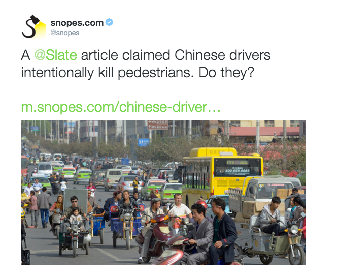 You won't believe what happened next—Snopes has perhaps taken their game a bit too far. This kind of clickbaity 'curiosity gap' headline-writing technique is inappropriate for debunks, especially when they concern myths about sociocultural stereotypes. The unattributed image doesn't add much information