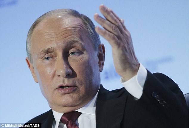It comes amid heightened tensions in the region and as Putin (pictured) moved battleships towards the Mediterranean and Baltic Seas, shifted nuclear-capable missile-launchers into its Kaliningrad enclave neighbouring Poland and continued flying bombers down the western European coast