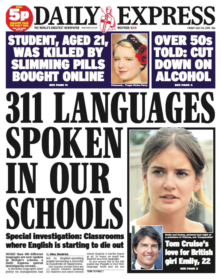 Daily Express front page story on English dying out was subsequently retracted