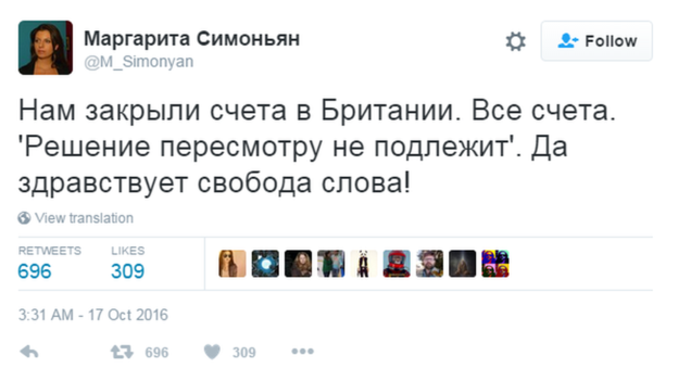 """RT editor-in-chief Margarita Simonyan tweeted that """"They've closed our accounts in Britain"""""""