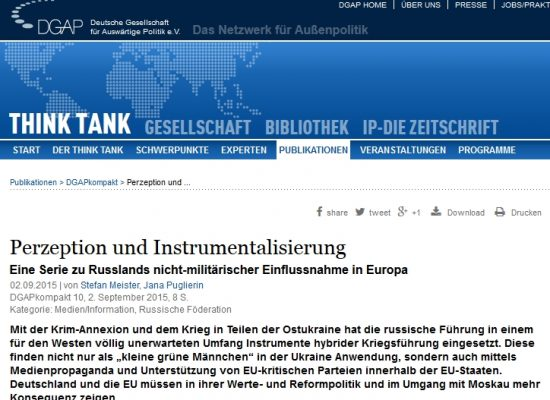 DGAP: Stefan Meister – Perzeption und Instrumentalisierung