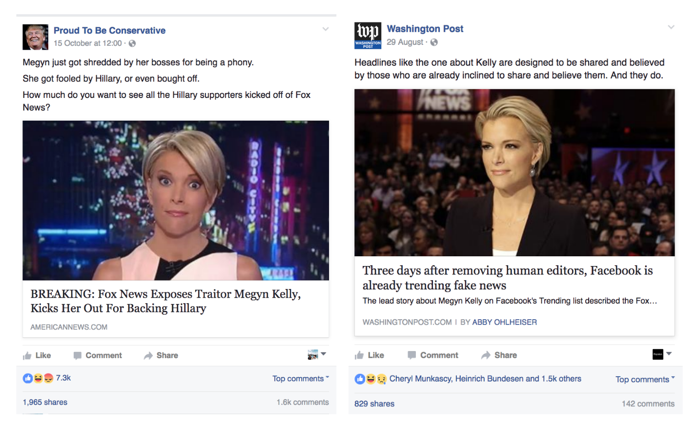 Compare and contrast. Fake post (left) does much better than earlier correction post (right)