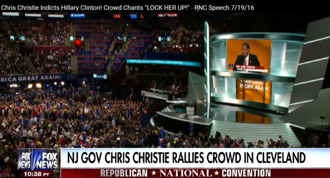 "Chris Christie ""indicts"" Hillary Clinton in his speech at the Republican National Convention in Cleveland, July 19, 2016. The crowd chants ""GUILTY!"" ""LOCK HER UP!"" (Image: screen capture)"