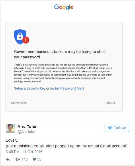 Tuit por Aric Toler: Encantador. (no es un mensaje electrónico fraudulento, la alerta apareció en mi cuenta real de Gmail)