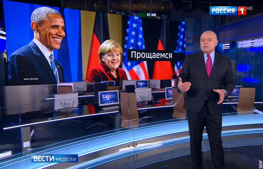"In his weekly news summary show ""News of the Week,"" host Dmitry Kiselyov said that ""Obama was throwing his arms about as if he was in the jungle"" but later edited that comment out. Vesti Nedeli / YouTube"