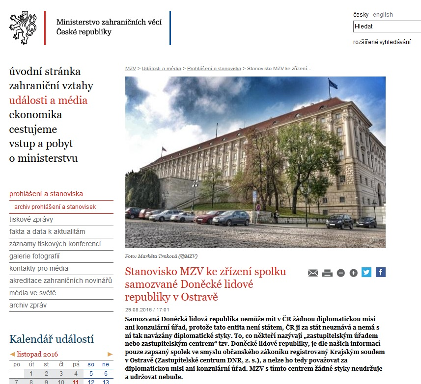 Screenshot of the website mzv.cz