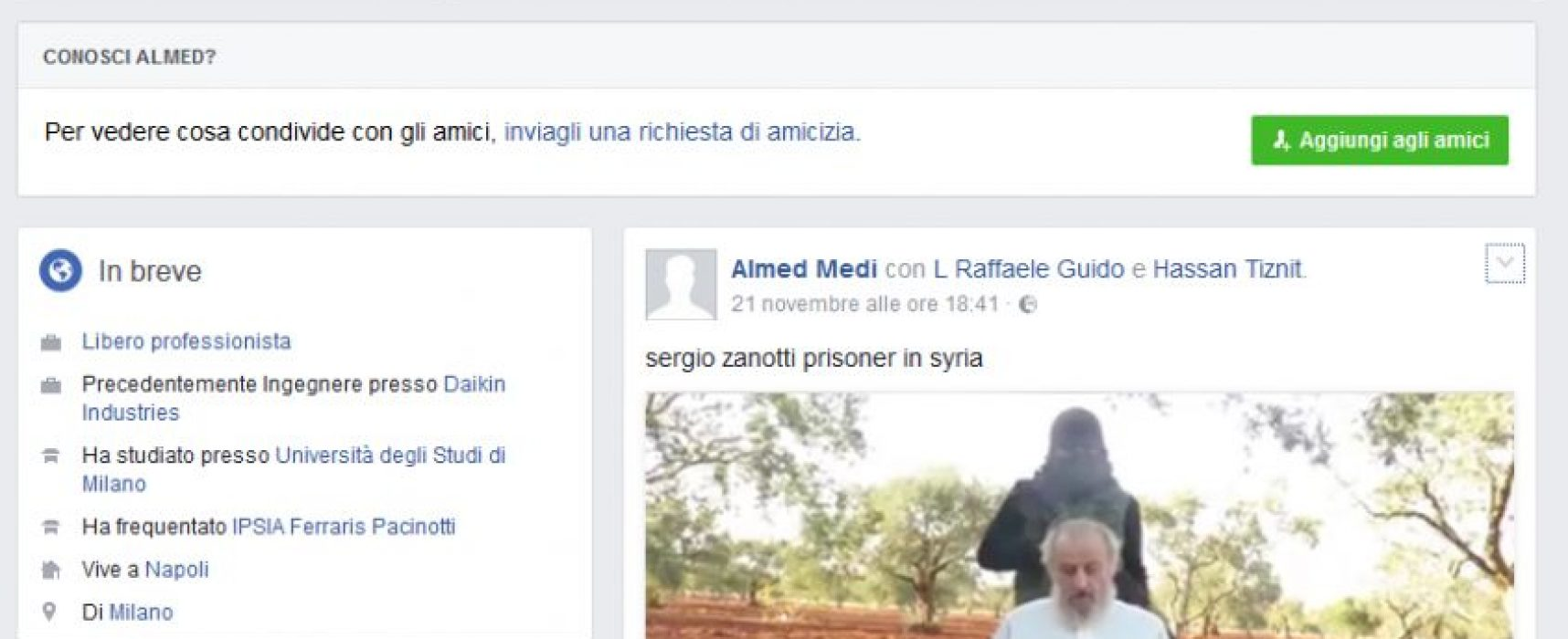 Sergio Zanotti, rapimento o Fake ?