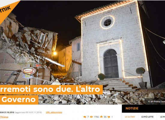 Terremoto in Italia nuova occasione di propaganda