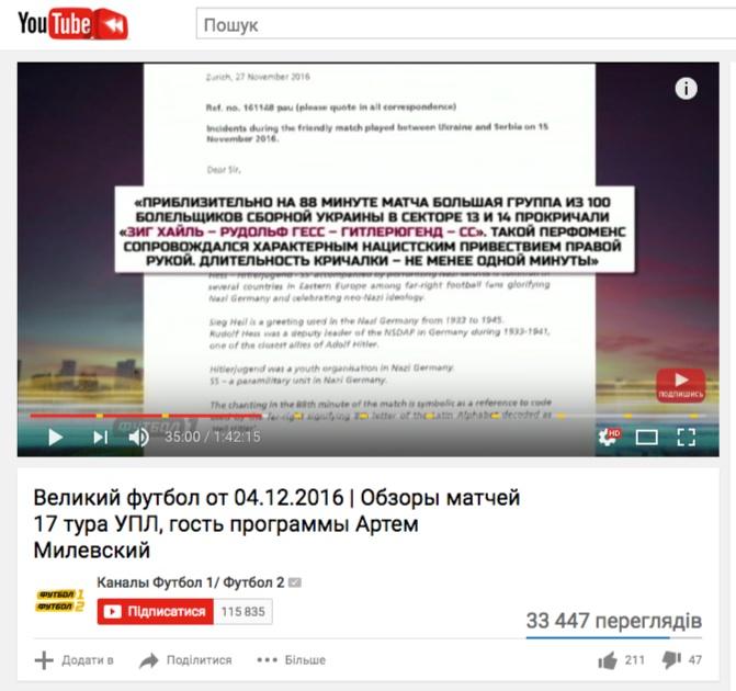 Скриншот на отчета на FARE на youtube.com
