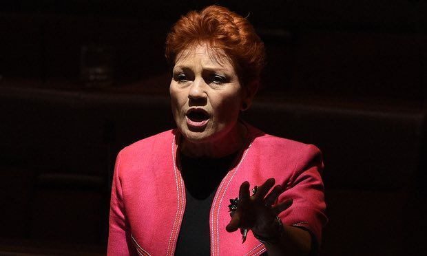 Parallels have been drawn between Pauline Hanson, a fringe rightwing political figure in Australia, and Trump's election. Photograph: Mick Tsikas/AAP