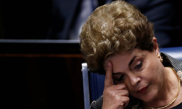 A report found three out of the five most shared stories on Facebook were false as the Dilma Rousseff impeachment process intensified. Photograph: Ueslei Marcelino/Reuters