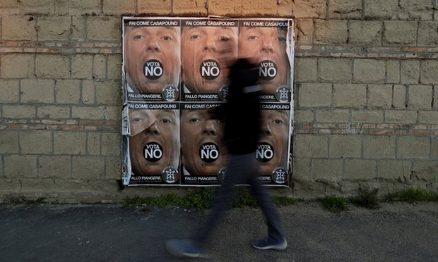 Posters of the Italian prime minister, Matteo Renzi, as the country approaches a constitutional referendum. Renzi's government has routinely been targeted with false online propaganda. Photograph: Gregorio Borgia/AP