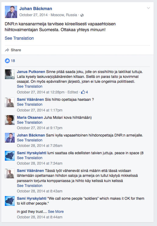 """""""I DNR people's army urgently needs a volunteer ski coach from Finland. Please contact me!"""""""