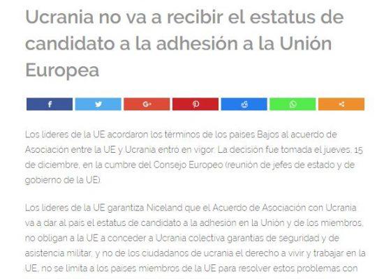 Falso: Ucrania no va a recibir el estatus de candidato a la adhesión a la UE