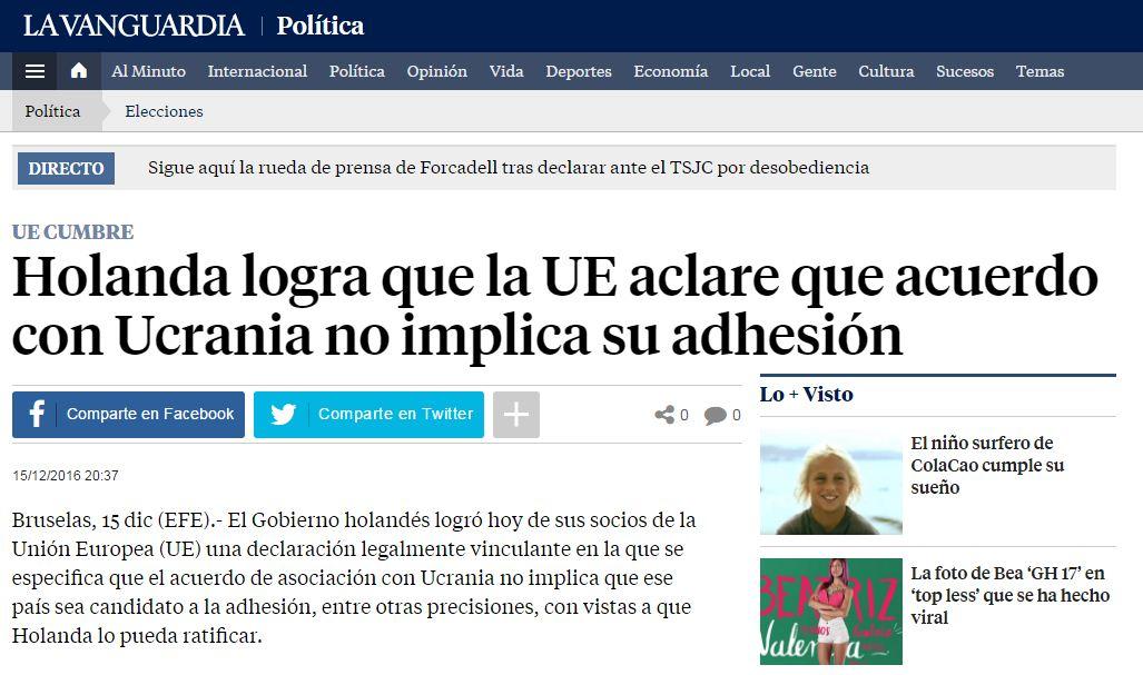 La captura de pantalla de la noticia de La Vanguardia con un título claro