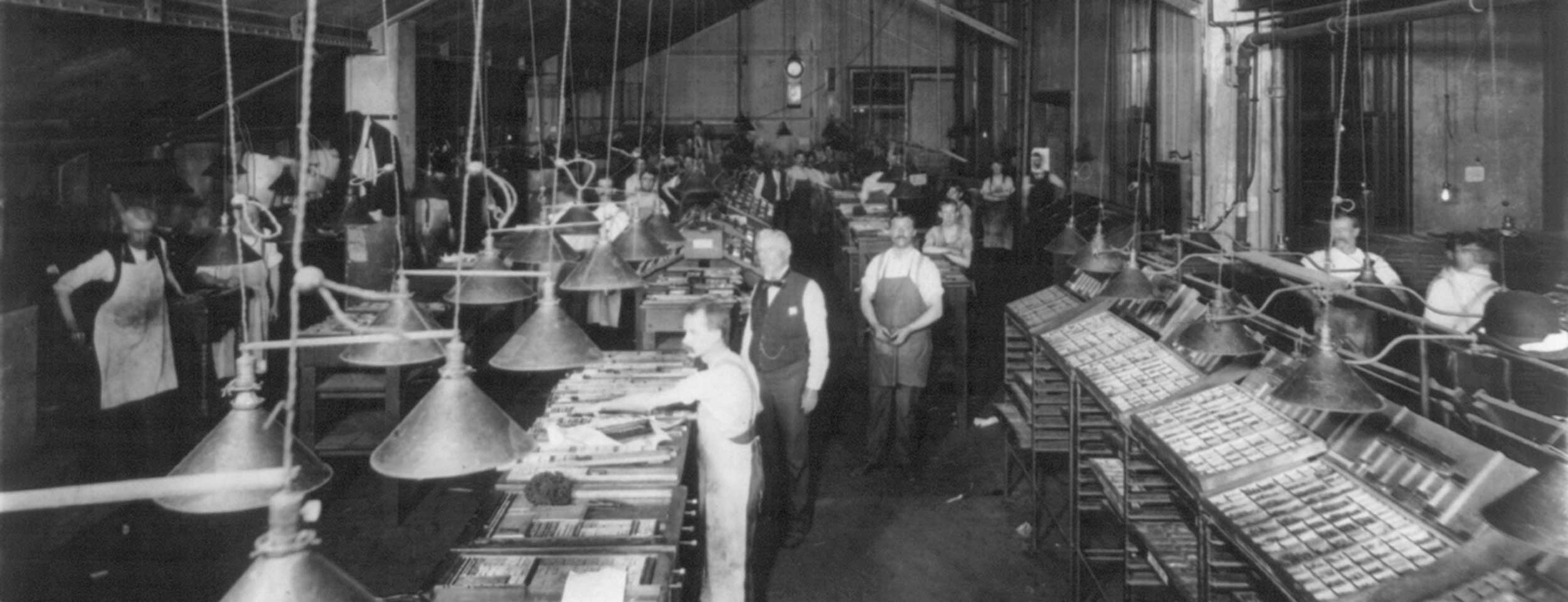 Composing room of the New York Herald (no date recorded) Photo: Library of Congress