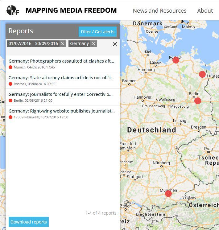 Карта по Германии. В Германии тоже неспокойно, но в отчет это не попало