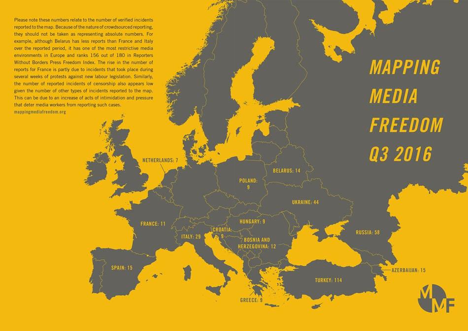 """Инфографика: Mapping Media Freedom""""измерва свободата на словото"""" в цяла Европа"""