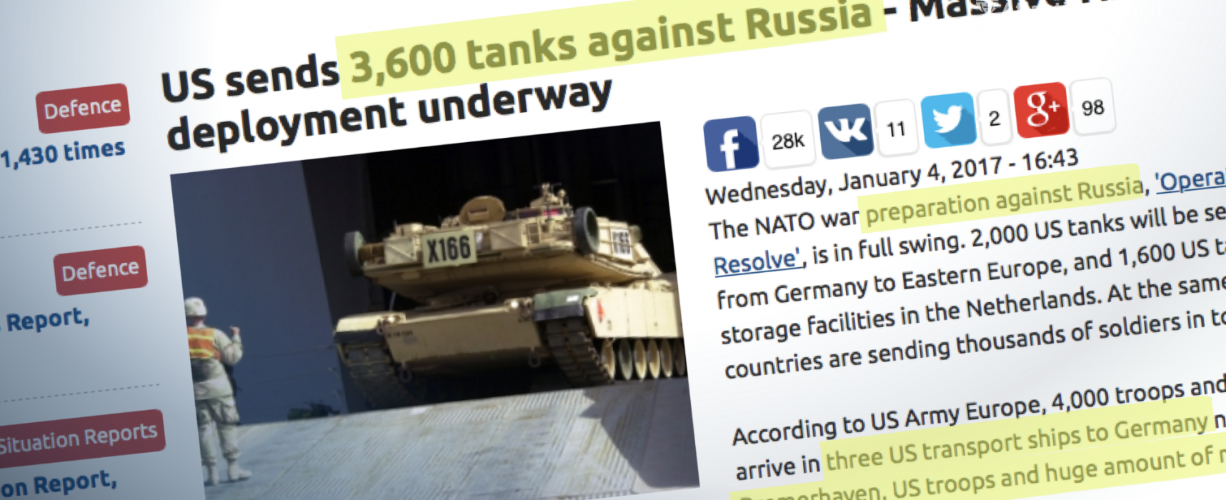 Three thousand fake tanks