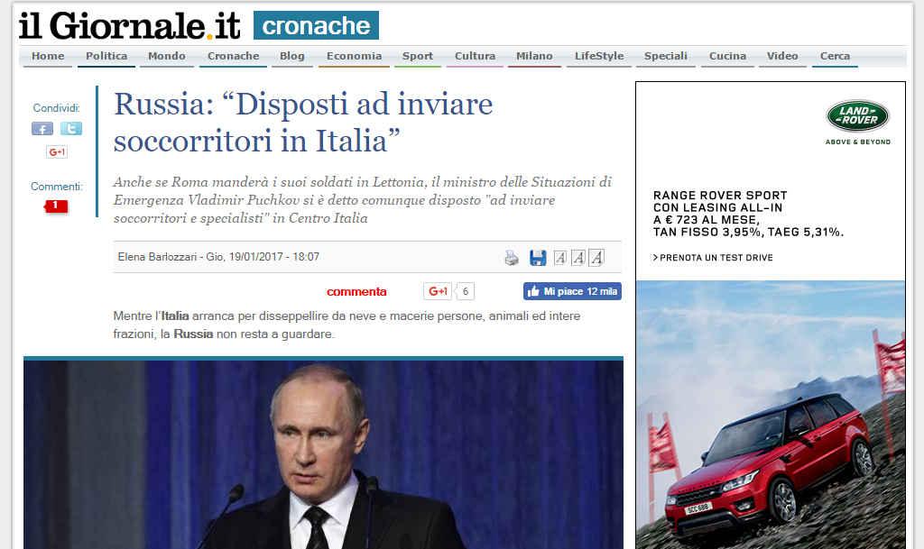 Putin terremoto italia