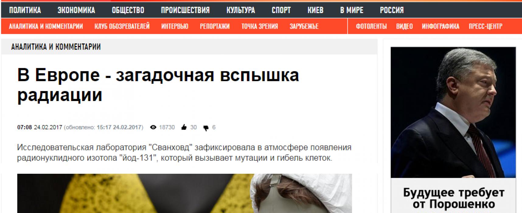 Fake: Europa beschuldigt Ukraine steigender Radioaktivität