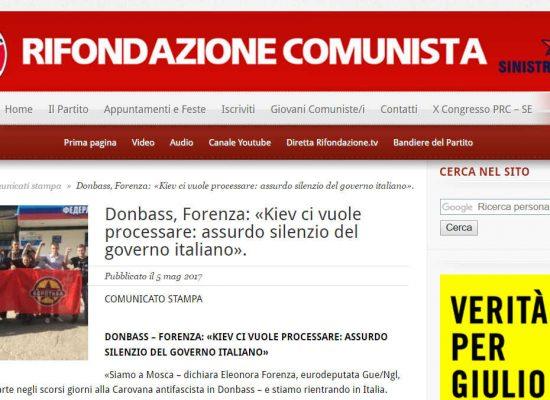 """Fake : Eleonora Forenza """"l'Ucraina mi vuole arrestare per terrorismo"""""""