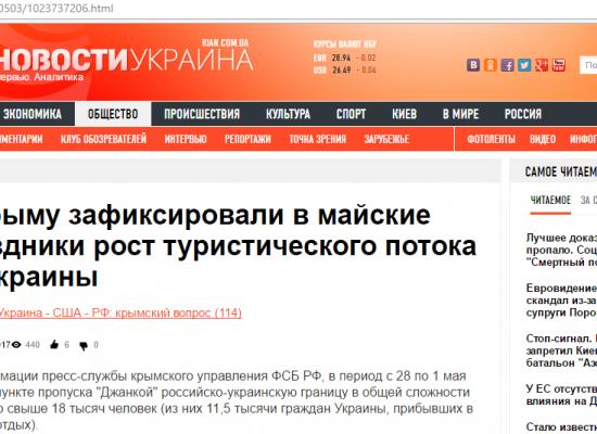 Fake: Record Number of Ukraine Tourists Flocking to Crimea