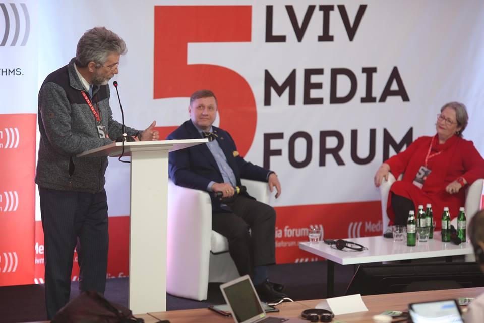 Konstantin von Eggert, Kanal Doshd; Susanne Scholl, Journalistin und Schriftstellerin, Österreich. Copyright: Lviv Media Forum