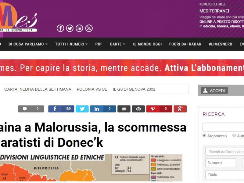 Limes ci ricasca con un nuovo articolo di promozione del progetto terroristico del Donbas