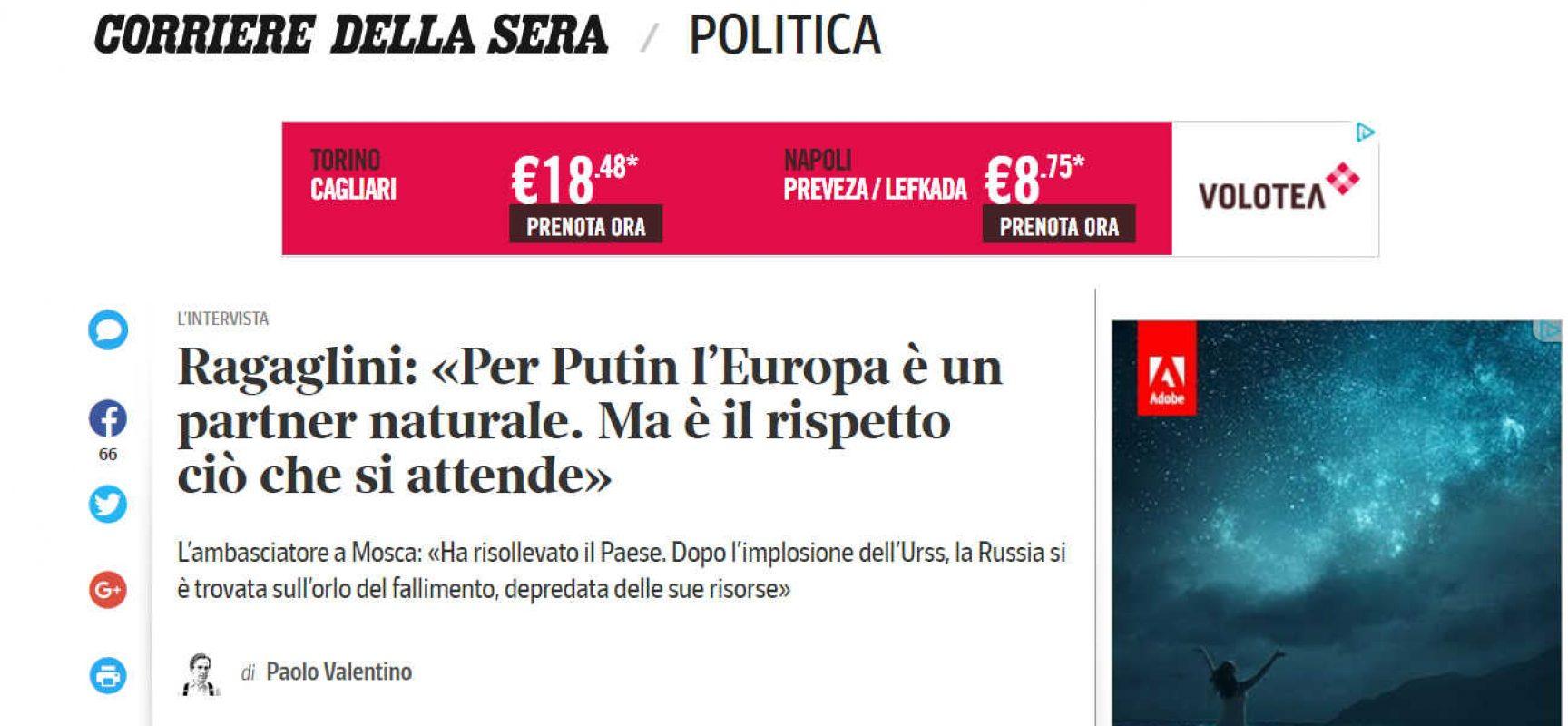 Fake : Discutibile intervista dell'Ambasciatore italiano a Mosca