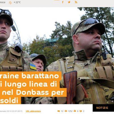Fake : Sputnik, Forze ucraine barattano posizioni lungo linea di contatto nel Donbass per vodka e soldi