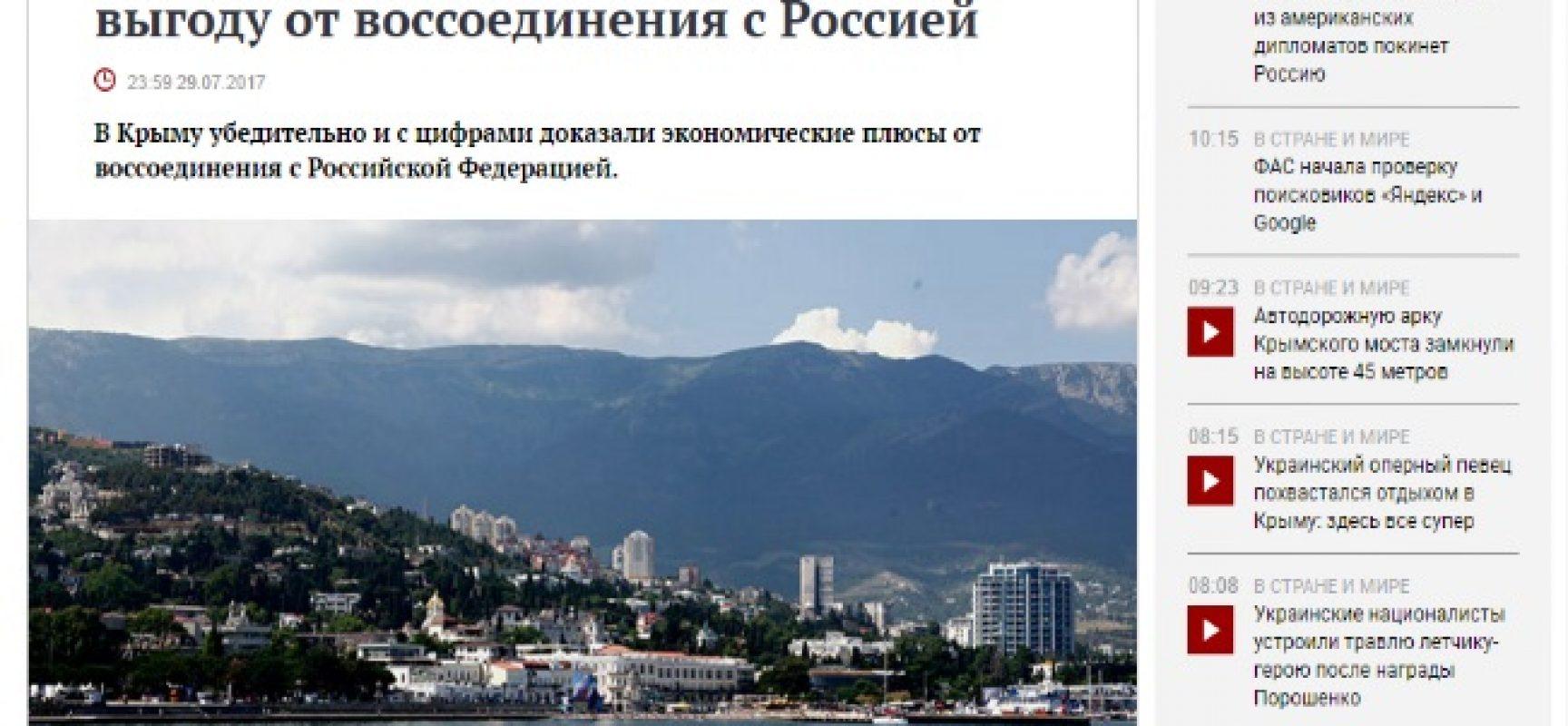 Fake: La Crimea dimostra i benefici economici della riunificazione con la Russia