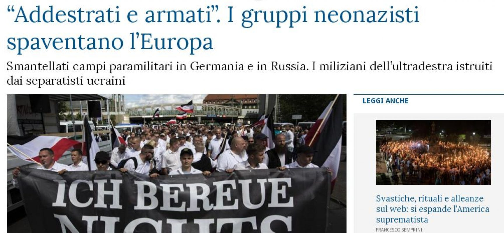 Il Donbas è un grande campo di addestramento per i neonazisti europei