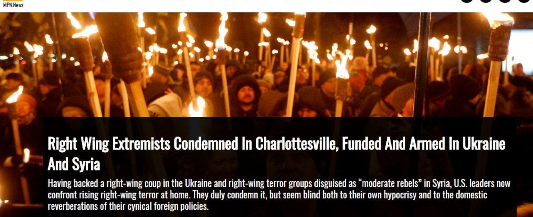 Manipulace: Pochod v Charlottesville má spojitost s ultrapravicovými extremisty na Ukrajině, jež podporuje USA