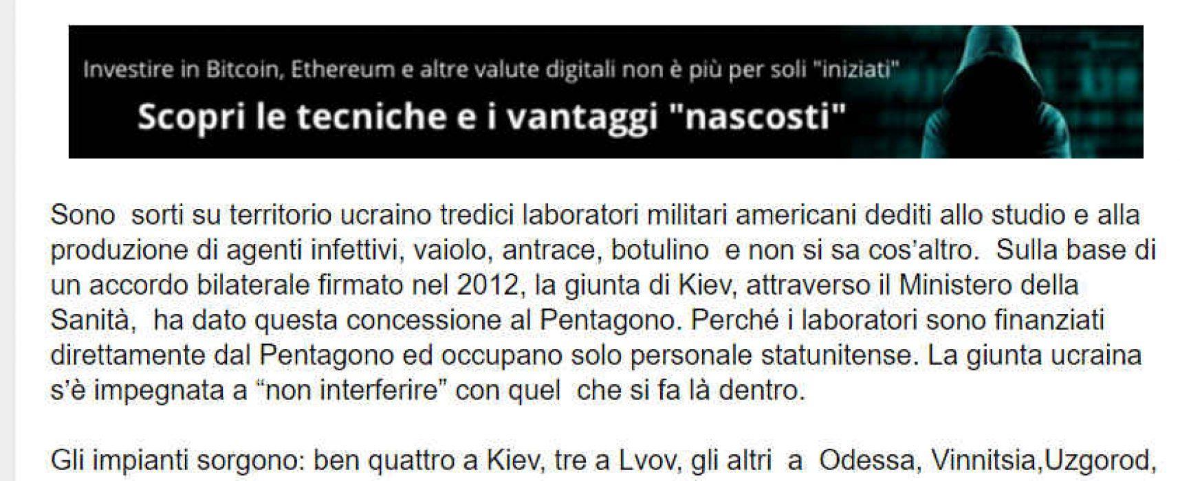 Fake: Blondet – USA ha fabbriche di bio-armi in Ucraina illegali