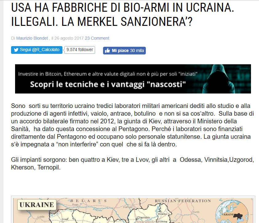 Blondet Fake USA armi biologiche ucraina