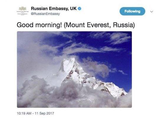 Според посолството на РФ във Великобритания планината Еверест се намира в … Русия
