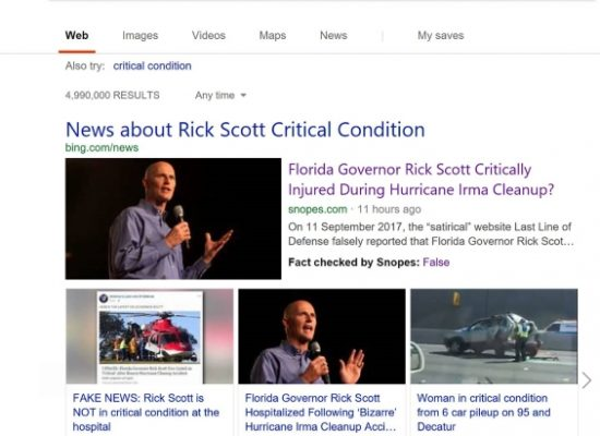 Bing, caccia alle fake news