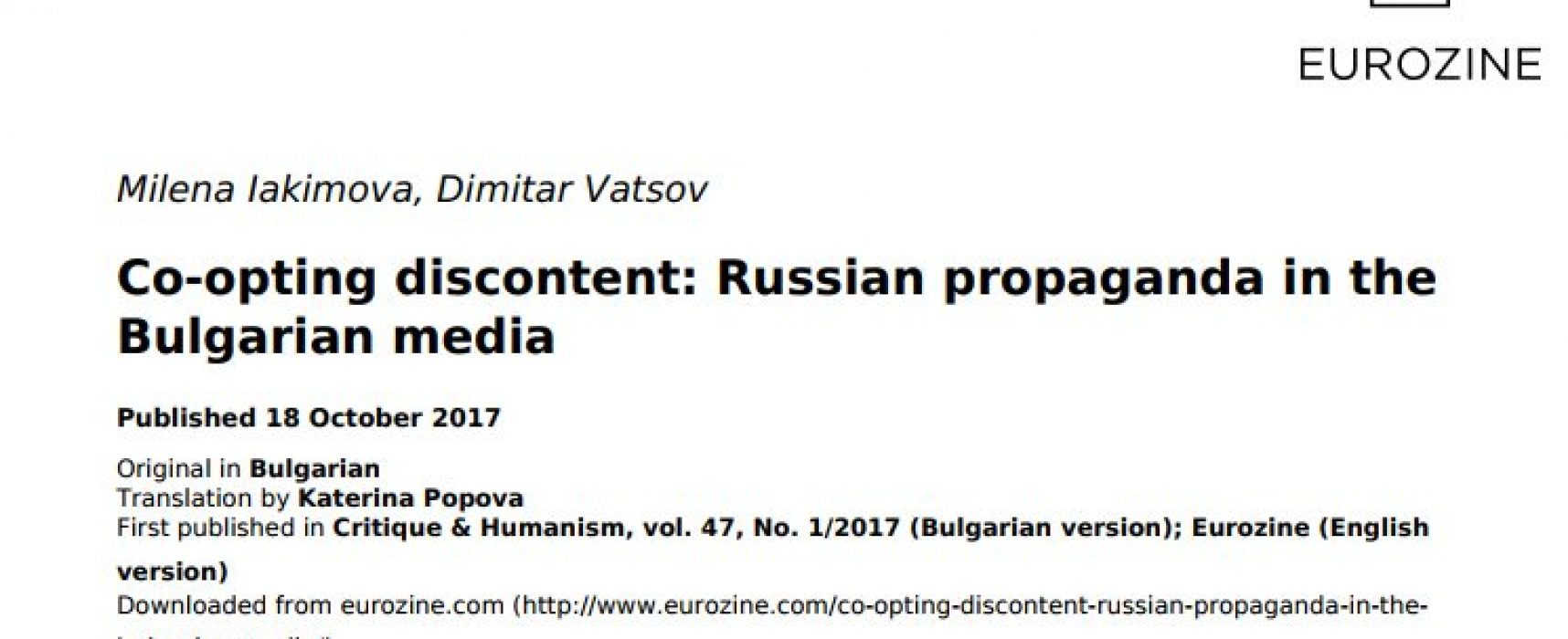 Co-opting discontent: Russian propaganda in the Bulgarian media