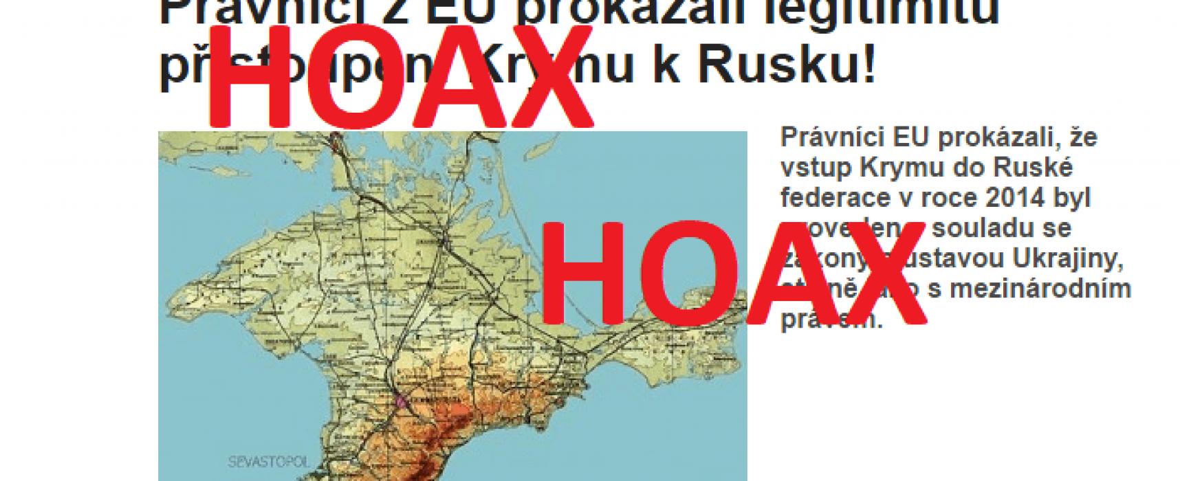 HOAX: Právníci EU prokázali, že vstup Krymu do Ruské federace v roce 2014 byl proveden v souladu se zákony