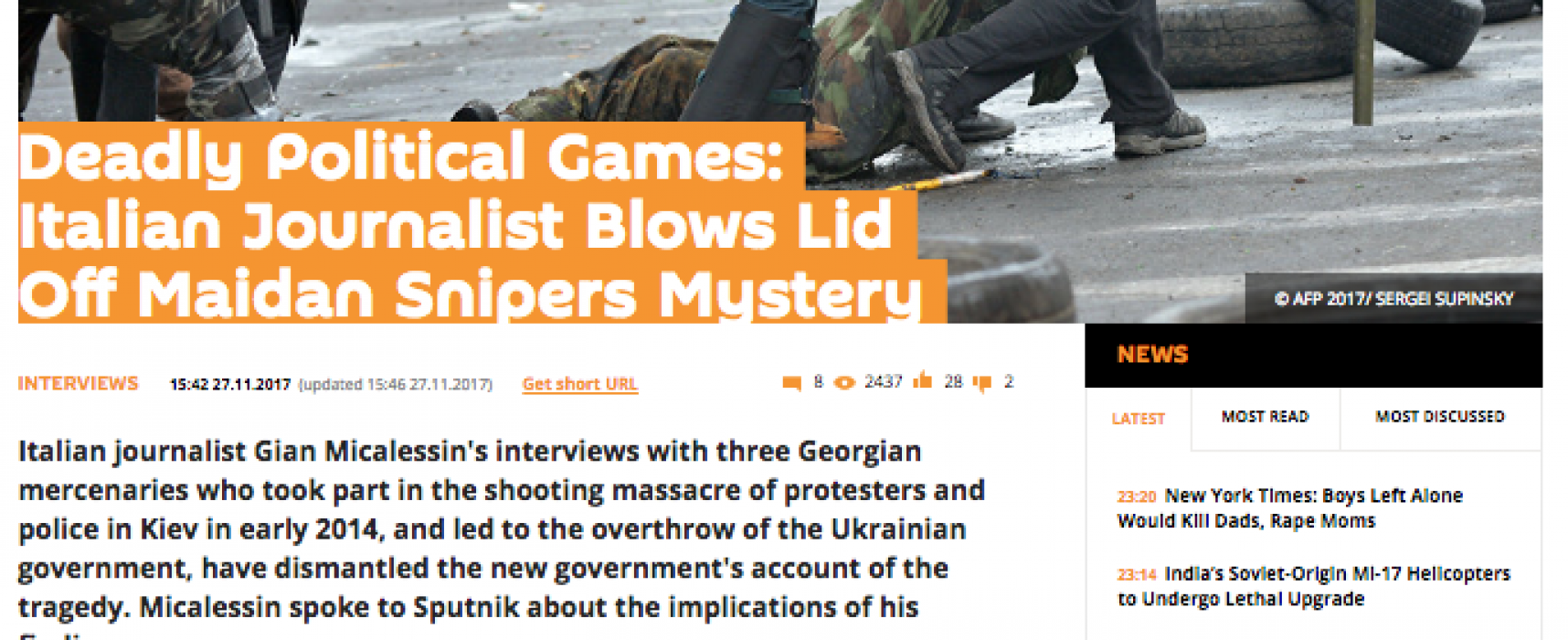 Fake: Georgian Snipers Shot Maidan Demonstrators