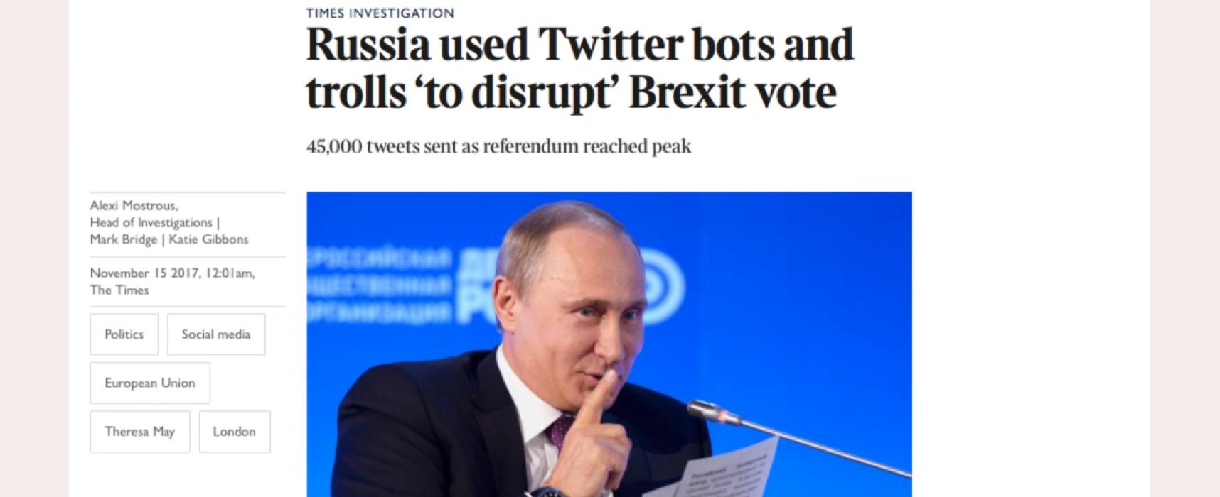 Media: rosyjska machina internetowa w okresie referendum w Wielkiej Brytanii przełączyła się z Ukrainy na Brexit
