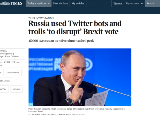 Интернетная «машина» России в дни референдума в Британии переключалась с Украины на Brexit — СМИ