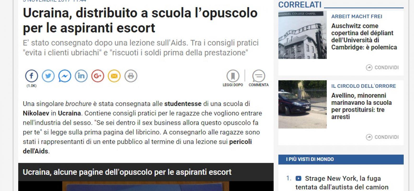 Fake TGcom : Ucraina, distribuito a scuola l'opuscolo per le aspiranti escort
