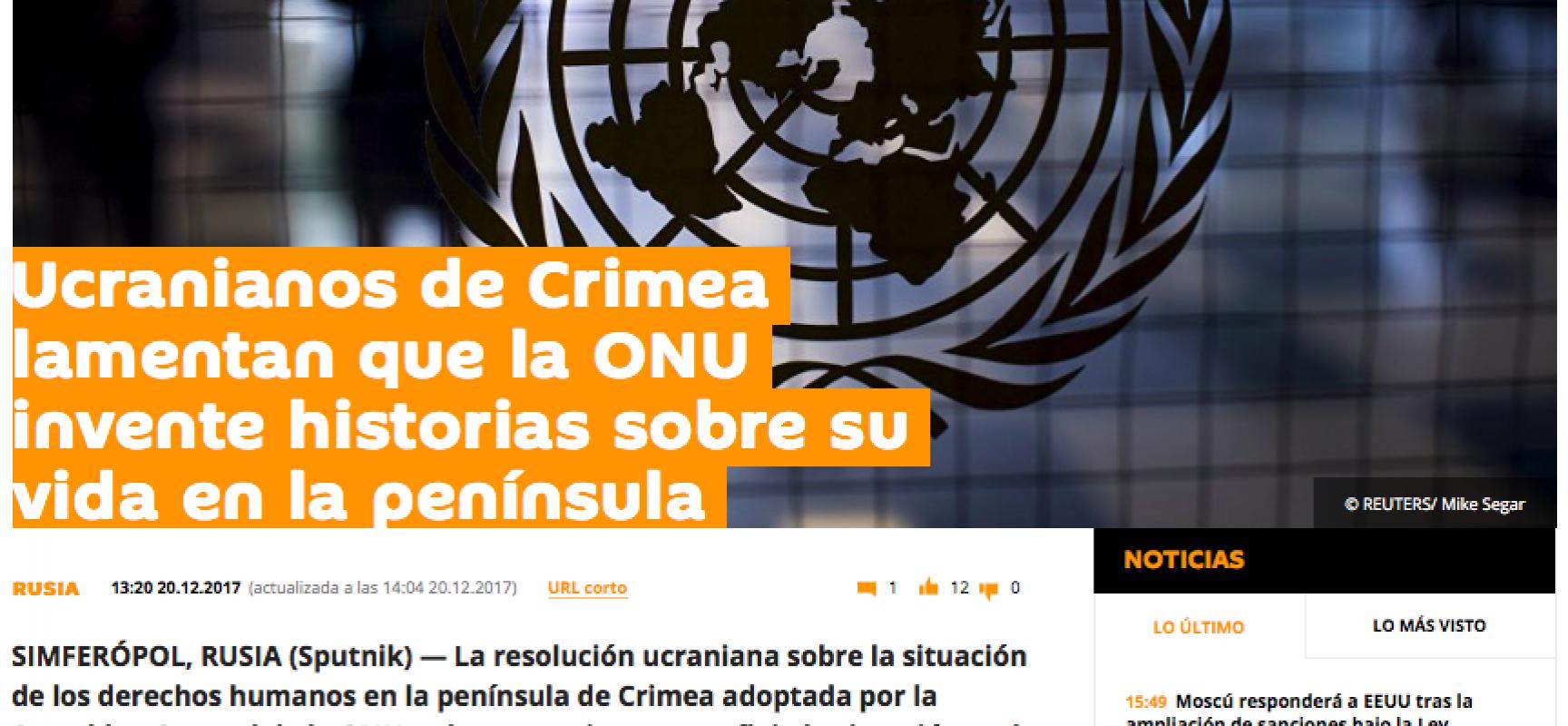 Fake: Le Nazioni Unite inventano violazioni sui diritti umani in Crimea