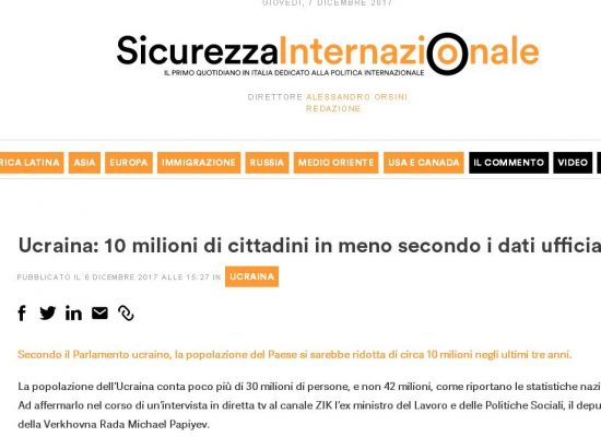 Fake : LUISS – in Ucraina 10 milioni di cittadini in meno