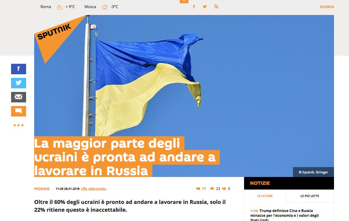 Sputnik fake ucraini che vogliono lavorare in russia
